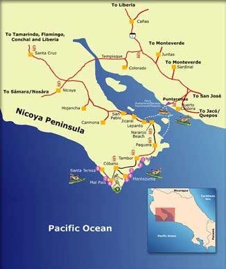 map Costa Rica Nicoya peninsula